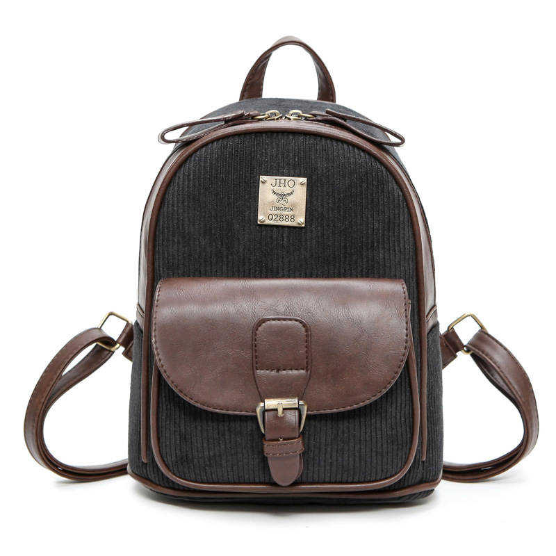 New Arrival Women Preppy Style Corduroy Daily Backpack Korean Style Brief Students School Bag Female Bag