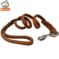 Braided Genuine Leather Dog Pet Training Leashes Prevent Bite 35