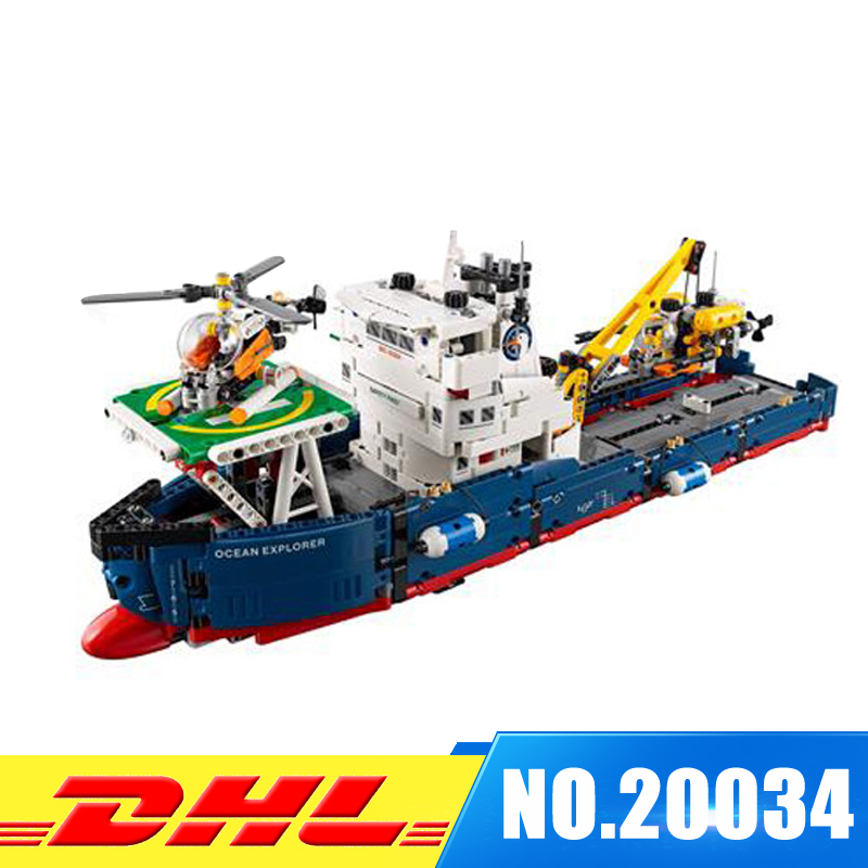 DHL Lepin 20034 Genuine Technic Series Remote-control The Searching Ship Set Building Blocks Bricks Toys 42064 lepin 20054 4237pcs the moc technic series the remote control t1 classic volkswagen camper set 10220 building blocks bricks toys