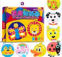 Children handmade DIY cartoon  paper  sticker toys/ Kids 8 inches multi color plate for kindergarten art craft educational toys