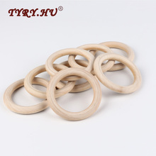 TYRY.HU 20pcs 40mm/70mm Wooden Baby Teething Rings Infant Teether Toy DIY Accessories For 3-12 Month Infants Tooth Care Products