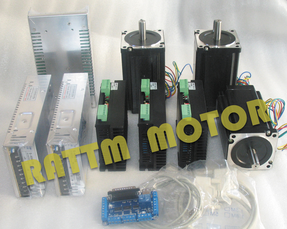 CNC 3 Axis Kit 3Pcs Nema34 stepper motor 116mm Dual shaft 5A 1230 oz in CW8060