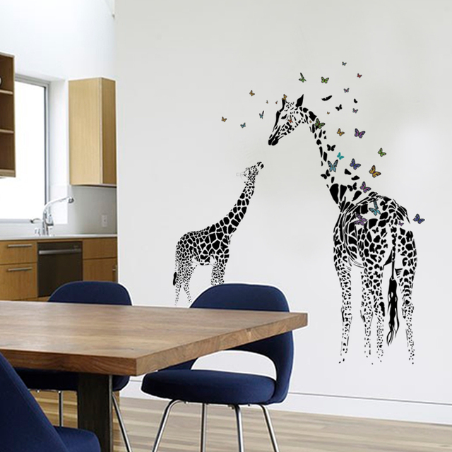 3D two Giraffe Butterfly DIY Vinyl Wall Stickers For Kids Rooms Home Decor Art Decals Wallpaper decoration adesivo de parede 3