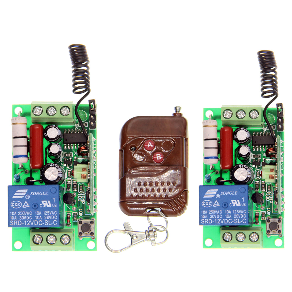 AC 220V 110V 1 CH 1CH RF Wireless Remote Control Switch System, 2CH Peach Transmitter + 2 X Receivers,Toggle/Momentary,315/433 2 receivers 60 buzzers wireless restaurant buzzer caller table call calling button waiter pager system