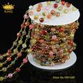 5Meter/Lot New Brass Handmade Wire Wrapped Agate Stone Faceted Round Stone Beads Link Chains Jewelry Findings Wholesale JD053