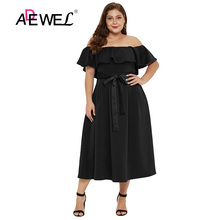 ADEWEL Casual Elegant Plus Size Ruched Off Shoulder Long Dress Women Sexy Ruffle Slash Neck Party Midi Dress Sashes Shift Dress plus size mesh insert ruched zipper design dress