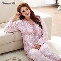 Pijamas de las mujeres de Primavera Y Otoño de Punto de Algodón ropa de Dormir de manga Larga 100% Algodón Pijama Conjunto de Salón Femenino