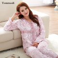 Women's Pajamas Spring And Autumn Knitted Cotton Sleepwear Long-sleeve 100% Cotton Female Lounge Pajama Set