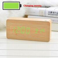 Alarm clock creative LED voice control environmental charging wood clock electronic alarm clock