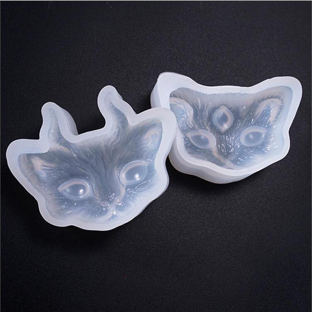Silicone Mold 2/3-eye Cat Head Jewelry Making DIY Handicraft Mould Epoxy Tool Mirror Crystal Epoxy Glue Mold Diy Jewelry Demon
