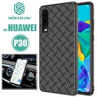 Funda trasera de fibra de borde de silicona rígida y suave de Huawei P30 Nillkin para teléfono táctil delicado de hoja de hierro para Huawei P30 nillkin caso