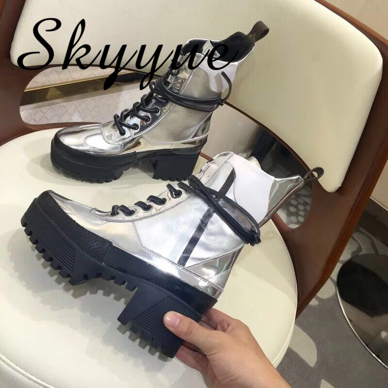 SKYYUE New Silver Metallic Leather Gladiator Lace Up Thick Heel Comfortable Women Boots Round Toe Platform Women Ankle Boots серьги коюз топаз серьги т101026257