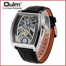 2016 Мода Мужская Марка Oulm 3402 Механическая Скелет Часы Мужчины Бизнес Наручные Часы Кожаный Ремешок Золото Серебро