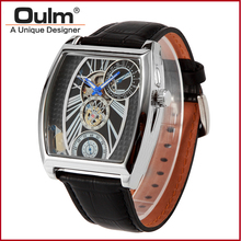2016 Fashion Mens Brand Oulm 3402 Mechanical Skeleton Watches Men Business Wristwatches Strap Leather Gold Silver