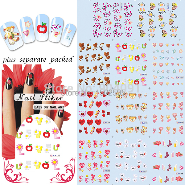 HOTSALE 90Sheet/LOT Valentine nail sticker Fashion nail art sticker for stickers for nails product +Separate Packed