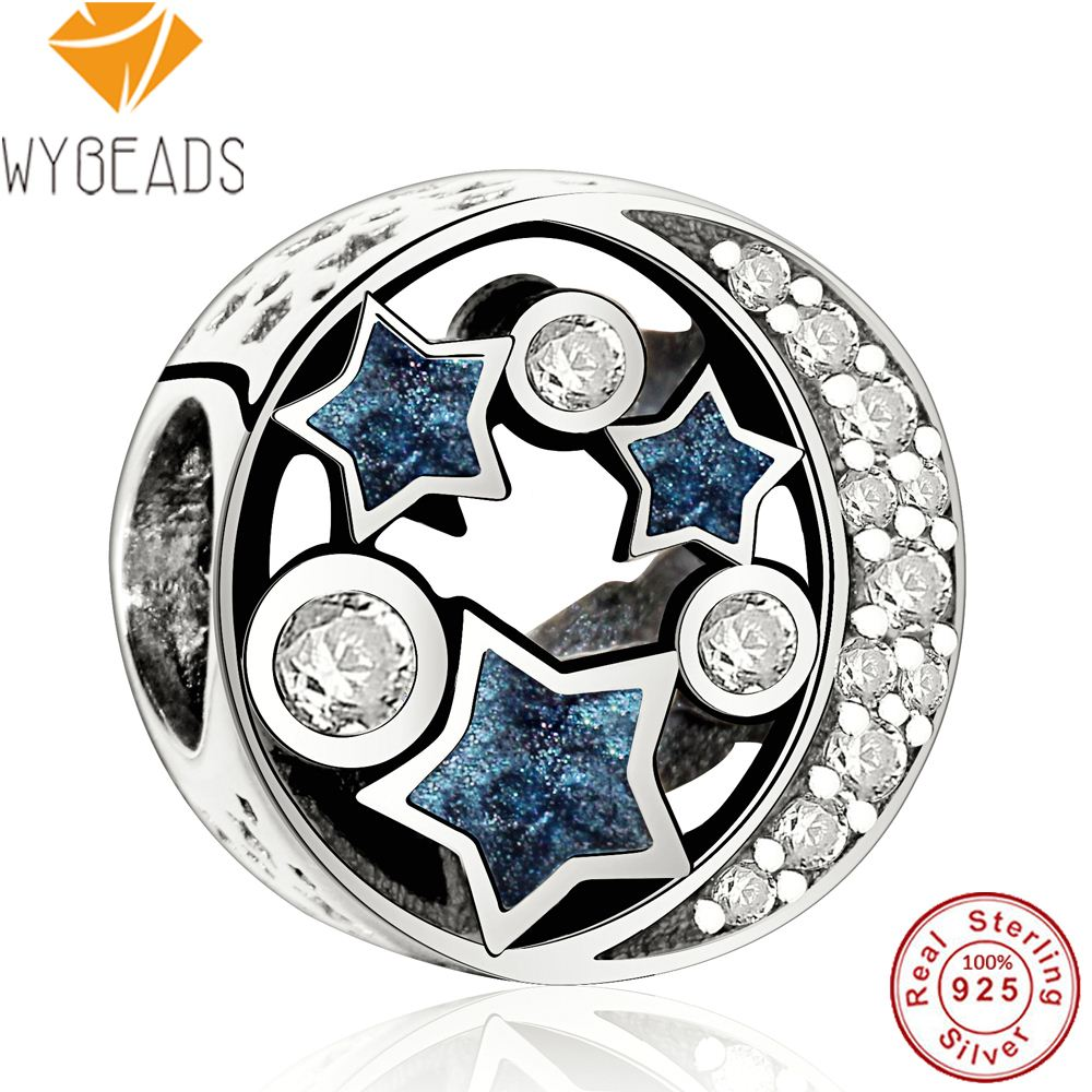 WYBEADS 925 Sterling Silver Vintage Night Sky Blue Enamel & Clear CZ Charms European Bead Fit Bracelet DIY Accessories Jewelry