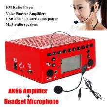 Free shipping!Aker AK66 Waistband Voice Amplifier Booster + Headset Microphone For Teacher Red