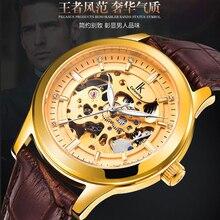 IK Colouring Relojes Para Hombre de Primeras Marcas de Lujo Mecánico Auto Esquelético de Oro Dial Correa de Cuero de Los Hombres Relojes Montre Homme