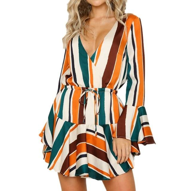 510e7feed65 Women Colorful Stripe Dress Sexy Deep V Neck Long Sleeve Fshion Party Dress  Flare Sleeve Backless Mini Dress  L