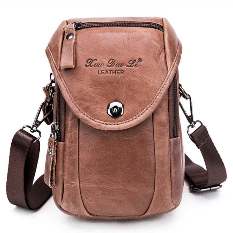 Genuine Leather Men Messenger Single Shoulder Small Hook Bag Cell Mobile Phone Case Purse Belt Fanny Waist Pack Cross Body Bags