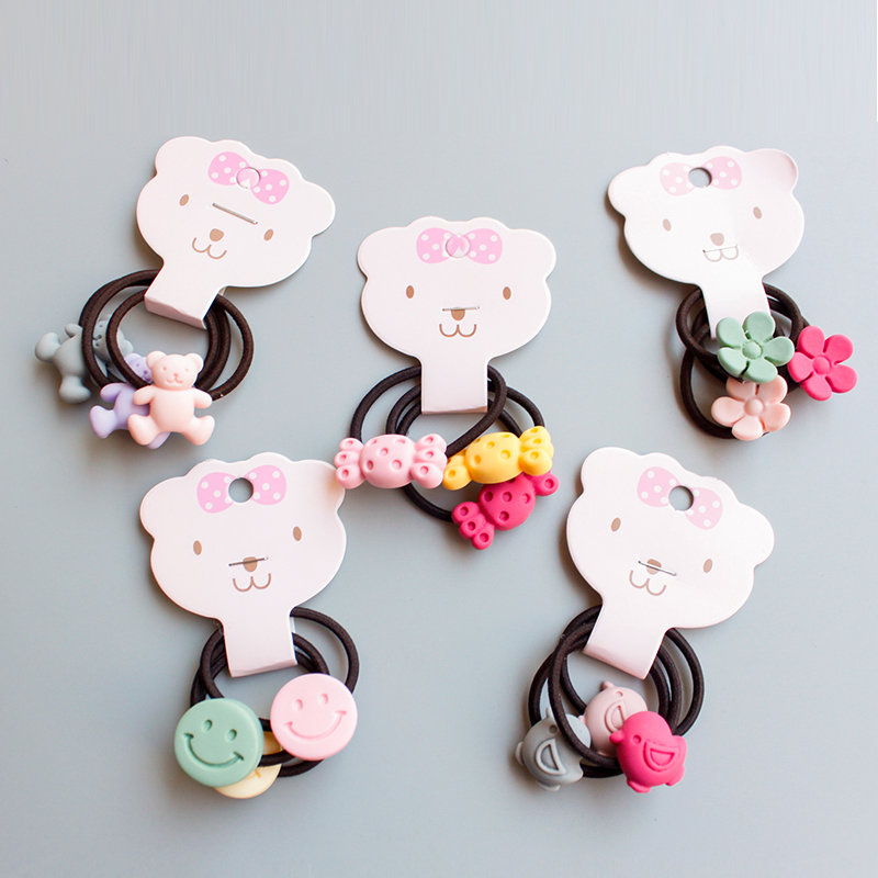 Free Shipping New Arrival High Quality Cute Hair Ropes 6 Models Kids Elastic Flowers 3PCS/Pack Hot Sale Bears Korean Smile Face