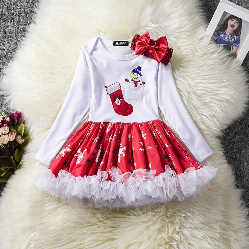BABY GIRLS Snowman Christmas Party Princess Long Sleeve Tulle Tutu Dress Children Enfant Girl Print Brief Dresses Clothing