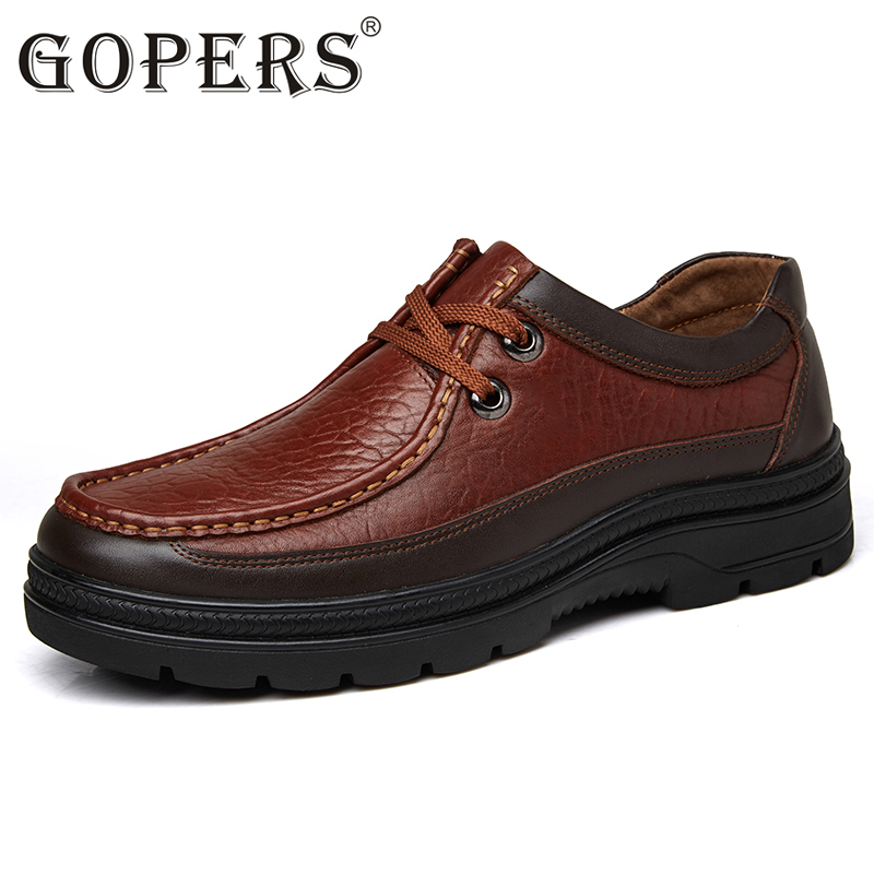 GOPERS Genuine Leather Men's Business Shoes Lace Up Black Retro Men Dress Shoe Handmade Leather Male Formal Official Footwear 2016new handmade men dress shoes man genuine leather shoes lace up business flats shoes black