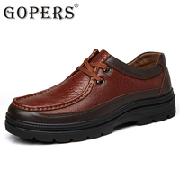 GOPERS Genuine Leather Men S Business Shoes Lace Up Black Retro Men Dress Shoe Handmade Leather