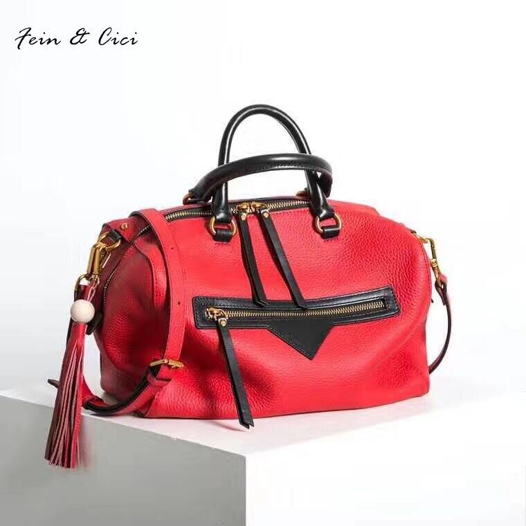 100% натуральная телячья кожа Сумка Женщины большими кистями сумки на ремне цвета: