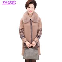Middle-aged women Winter Plus size Sweater Coat Women Thicken Loose Long Wool Jacket Women Embroidered Fur collar Sweater B494