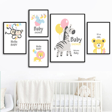 Zebra Bear Monkey Lion Wall Art Canvas Painting Nordic Posters And Prints Animals Cartoon Wall Pictures For Baby Kids Room Decor стоимость