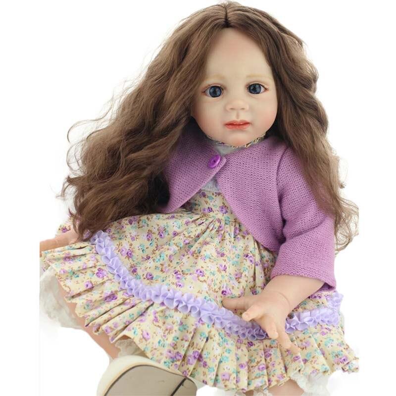 23 Princess Girls Doll Lifelike Silicone Implanted Long Hair Babies Dolls Handmade 60cm Vinyl Reborn Dolls