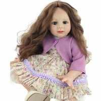 "23"" Princess Girls Doll Lifelike Silicone Implanted Long Hair Babies Dolls Handmade 60cm Vinyl Reborn Dolls Toys for Children"