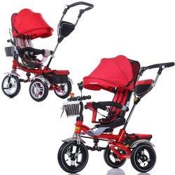 3 em 1 dobrável crianças triciclo bicicleta carrinho de bebê carrinho carrinho carrinho de bebê carrinho de três rodas dobrável bebê buggies