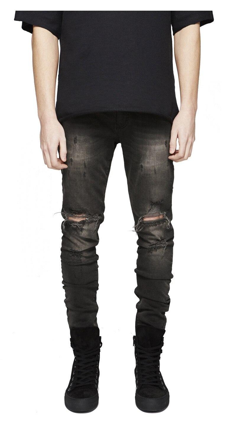 Fashion Men High Street Racer Slim Hole Zipper Denim Jeans 2018 New Summer Skinny Frayed Pants Distressed Rip Troursers