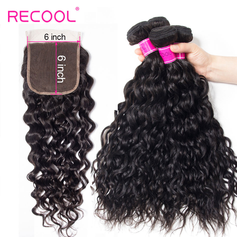 Recool Water Wave Bundles With Closure Remy Human Hair Bundles With 6x6 Lace Closure Brazilian Hair