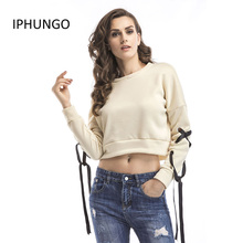 IPHUNGO Women Autumn Hoodies Casual Plus cashmere Long Sleeve O-neck Solid Color Short Sweatshirt Female Pullovers