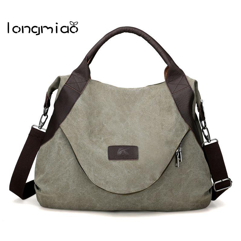 Canvas Handbag Large Hobos Bag Totes Solid Shoulder Bag With Anti-Theft Bag
