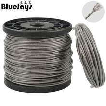 цена 10M fishing Stainless steel wire line 7x7 strands Trace Coating Wire Leader Coating Jigging Wire Lead Fish Jigging Line 0.8-2mm
