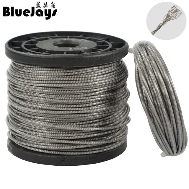 10M 70LB-368LB fishing steel wire line 7x7 strands Trace Coating Wire Leader Coating Jigging Wire Lead Fish Jigging Line 0.8-2mm