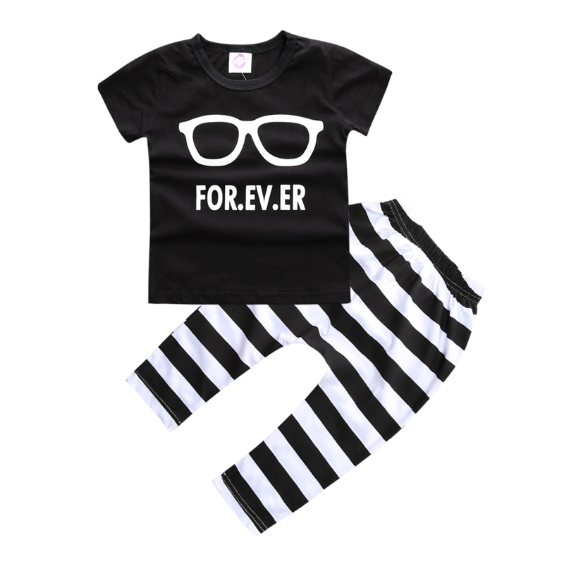 ST203-Hot-selling-children-clothing-set-baby-clothes-glasses-pattern-short-sleeved-T-stripe-pants-fashion-boys-clothes-1