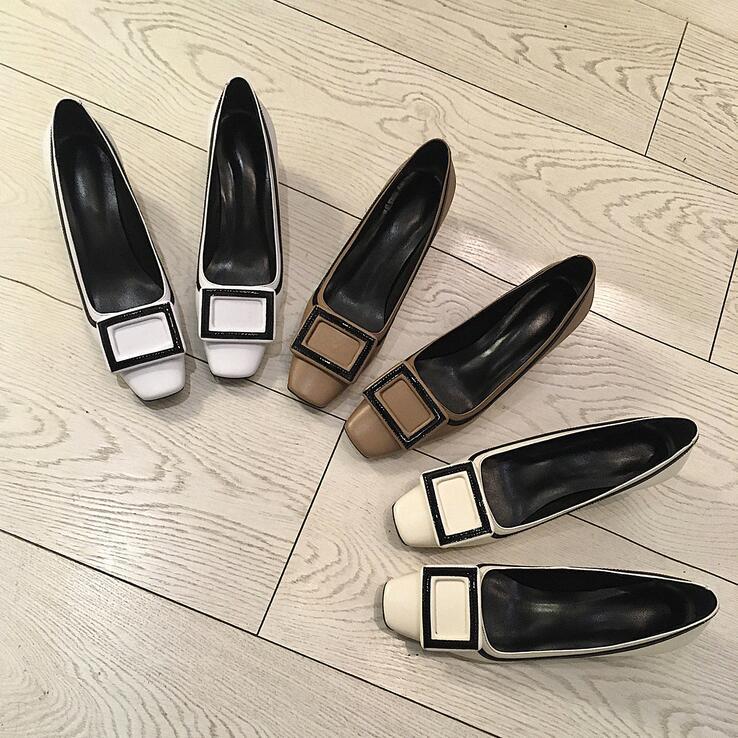 Dame Talon Perfetto En Automne Mixte Beige De Profonde Cuir Carré Bureau Femmes Bout Pompes Mi Mode Chaussures Couleur blanc café Véritable Prova Peu Printemps Robe wFqWX6dX