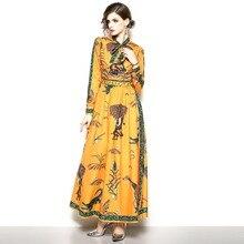 44bdd1c9c2 Sisjuly wieczór Party w stylu Vintage kwiatowy Maxi sukienki kobiety  zwierząt drukuj zielony łuk kołnierz emiraty dodatkowe dług.