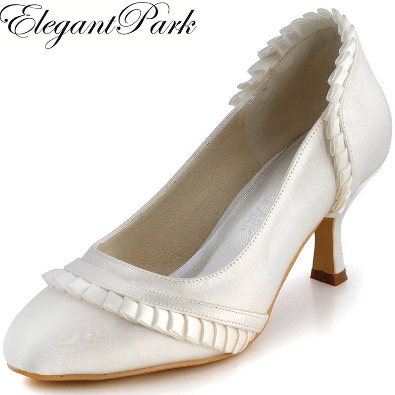 Elegantpark Women's Shoes EL-041 Ivory White Almond Toe Ruffles  6 CM High Heels Satin Woman Wedding Bridal Shoes Lady Evening Fashion Pumps