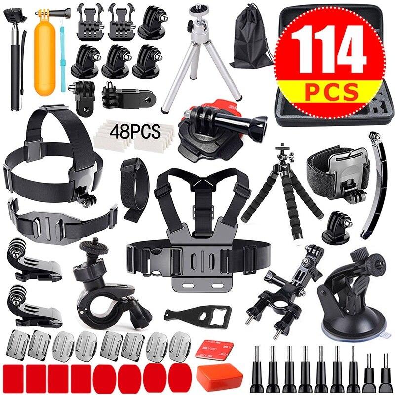 GloryStar 114 pièces Gopro accessoires Pack boîtier tête poitrine monopode vélo Surf Mount pour GoPro Hero 5 4 3 2