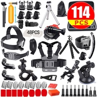 GloryStar 114pcs Gopro Accessories Pack Case Head Chest Monopod Bike Surf Mount for GoPro Hero 5 4 3 2