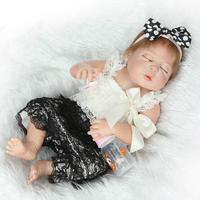NPKcollection 57cm full silicone simulation sleeping newborn baby girl with Lovely small skirt silicone reborn baby dolls