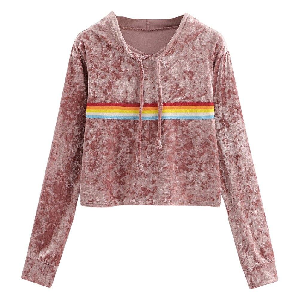 Womens long sleeve sweatshirt rainbow stripe sweatshirt jumper hooded pullover tops velvet blouse plus size womens hoodies