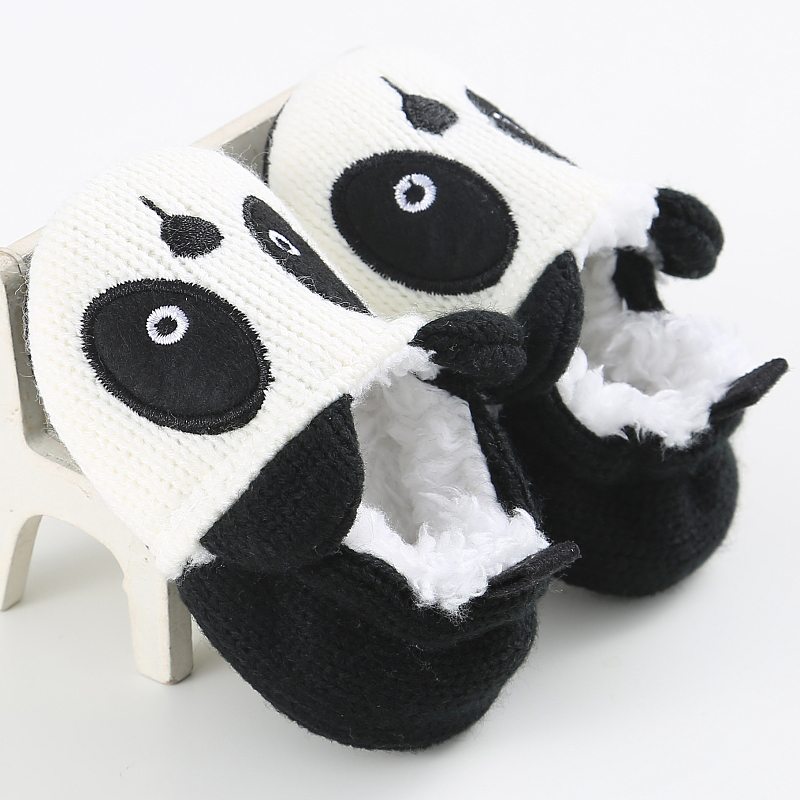 MrY Adorable Infant Slippers Toddler Baby Boy Girl Knit Crib Shoes Cute Cartoon Panda Anti-slip Prewalker Winter Warm Soft Sole