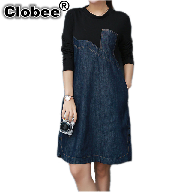 Clobee M-4XL Spring Office Ladies Long Sleeve Loose Jeans Dresses 2017  Denim Dress Plus Size Women Clothing Retro tunique femme 276d46c553c0